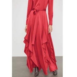 NWT Draped Ruffle Maxi Dress /Long Sleeve/BCBG
